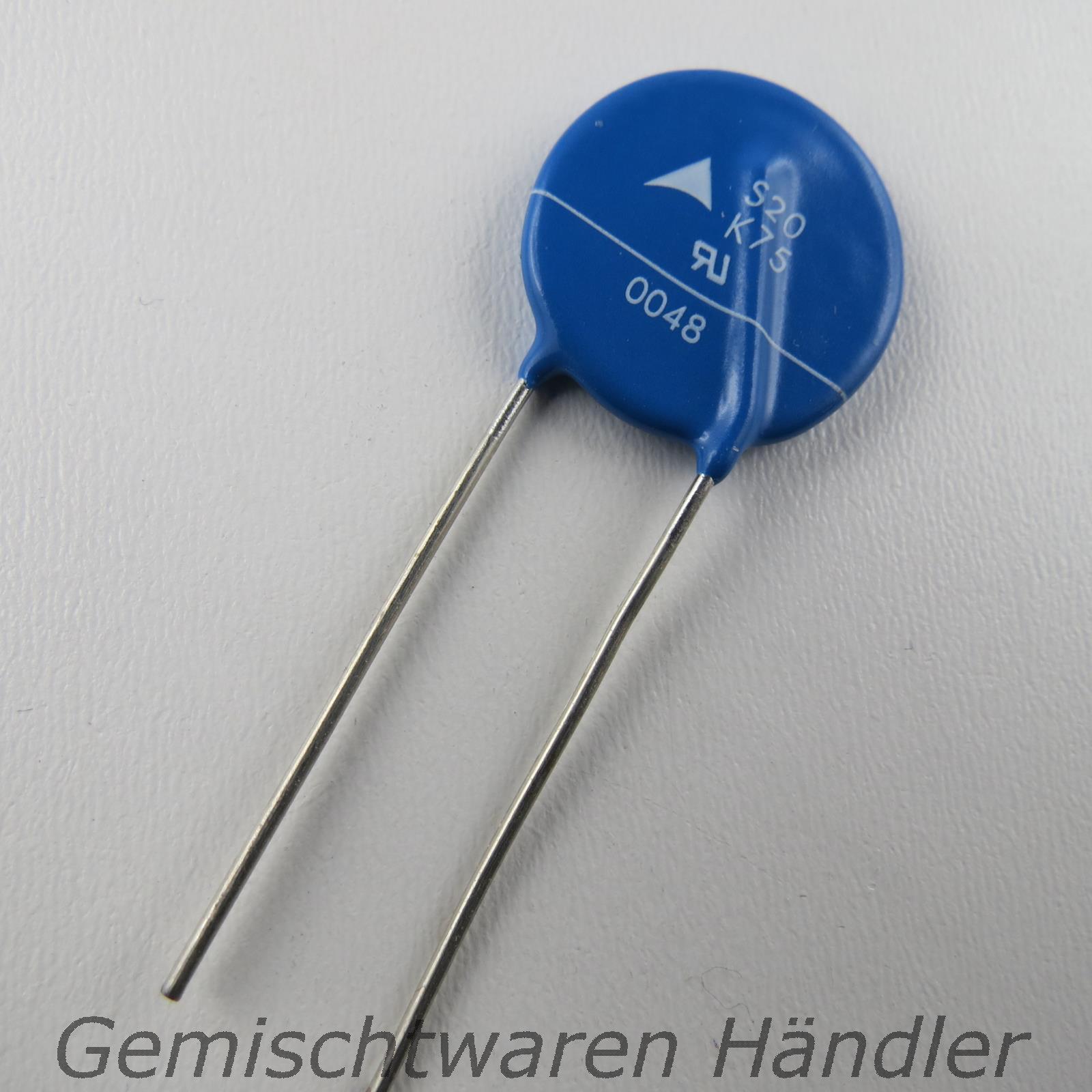 5x Varistor siov-S20K75 metal oxide; THT; 75VAC; 100VDC; 120V RoHS 6; 5kA 40J EPCOS